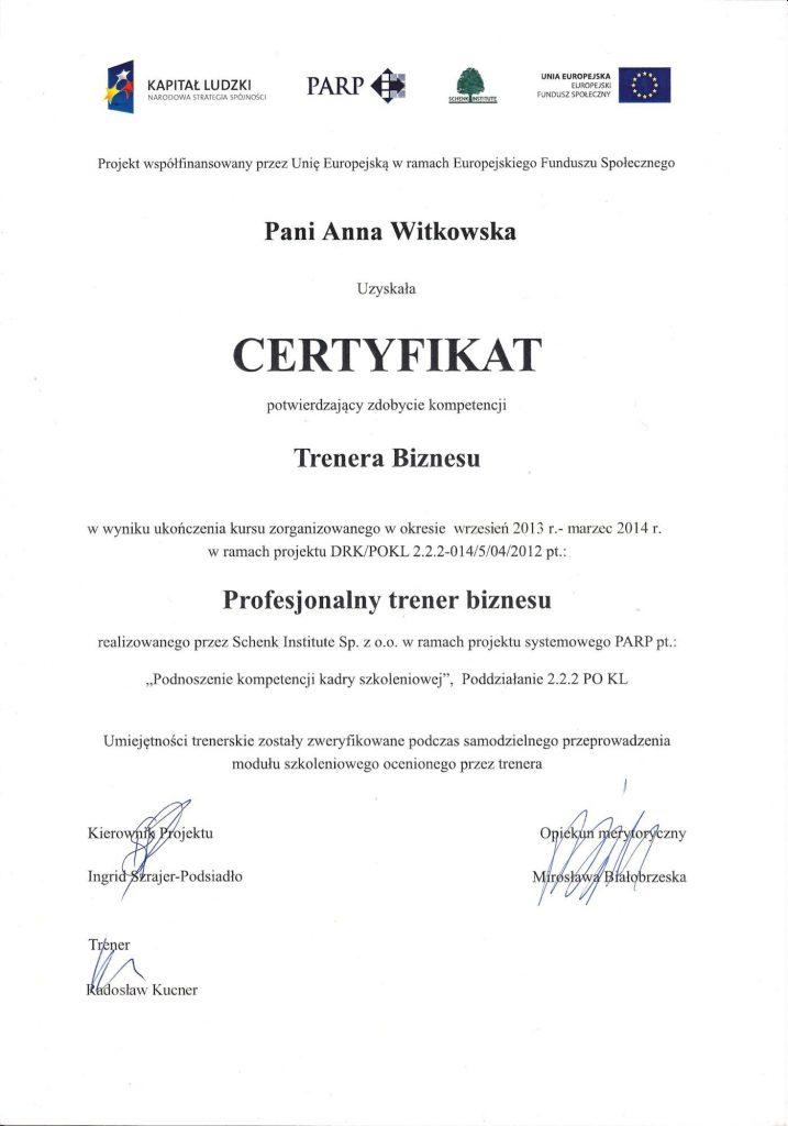 Certyfikat trenera biznesu
